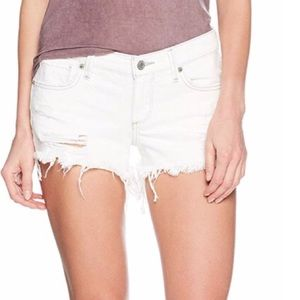 Mid Rise Cut Off Short in White Reyes Shorts